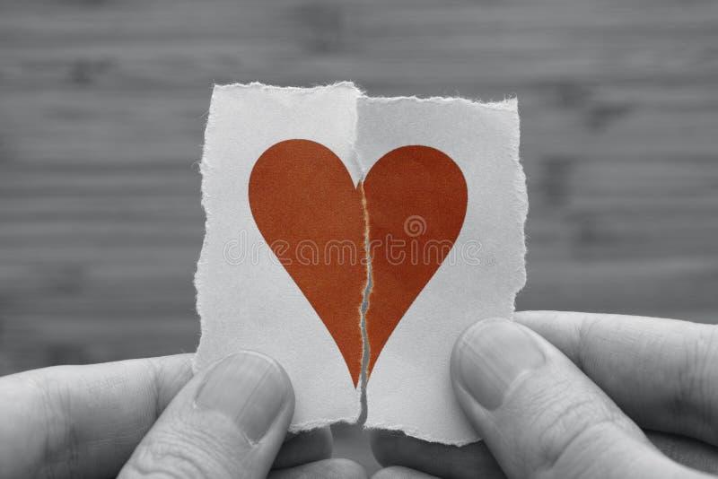Человек держит красное сломанное бумажное сердце в его руках стоковые изображения