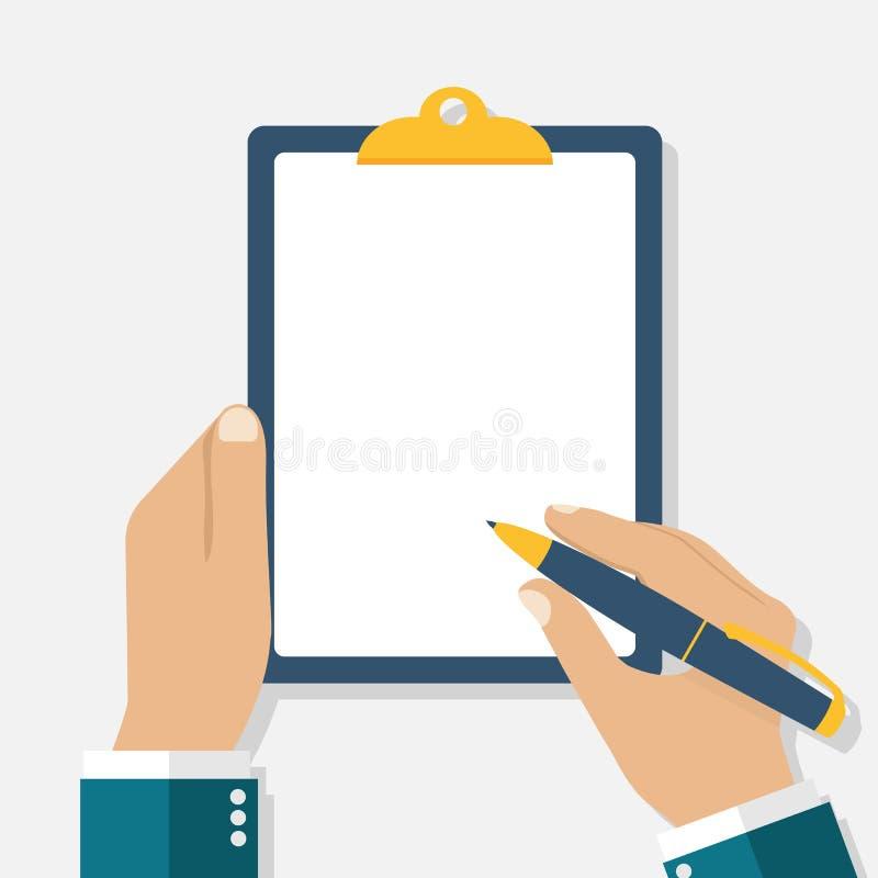 Человек держит доску сзажимом для бумаги и пишет пусто опорожните вручите пер иллюстрация вектора