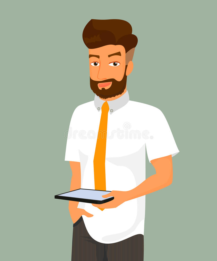 Человек держит ПК таблетки в его руке иллюстрация вектора