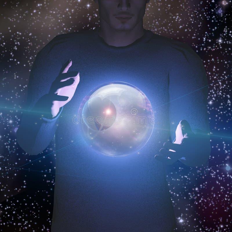 Человек держит планету и космос иллюстрация штока