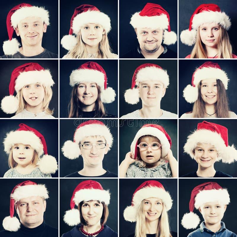 Человек, женщина и дети рождества в шляпе Санты Портрет Chri стоковое изображение rf