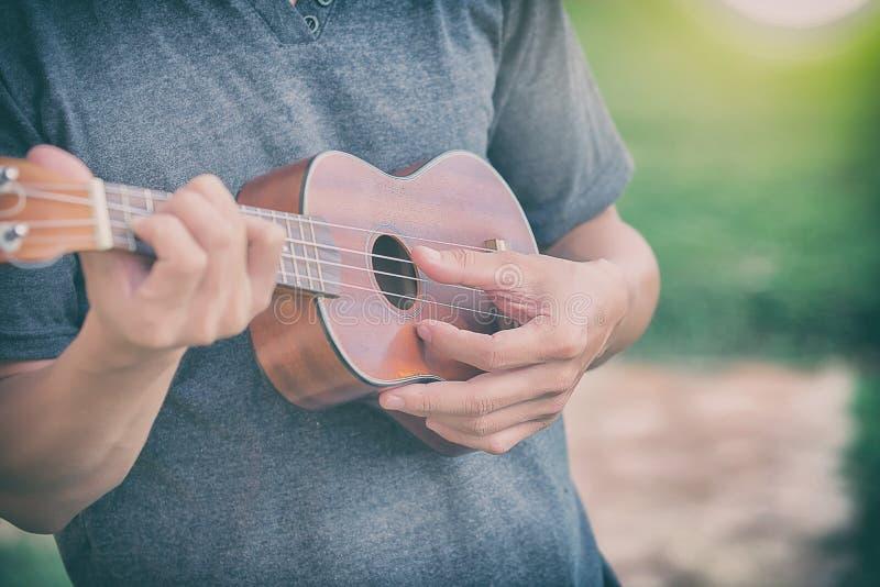 Человек играя гавайскую гитару стоковое фото rf