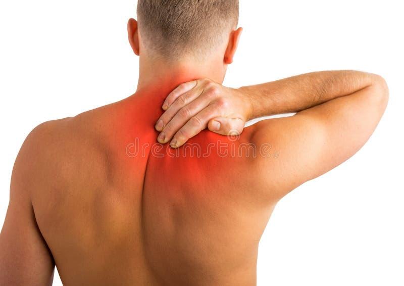 Человек имея боль задних и плеча стоковые изображения rf