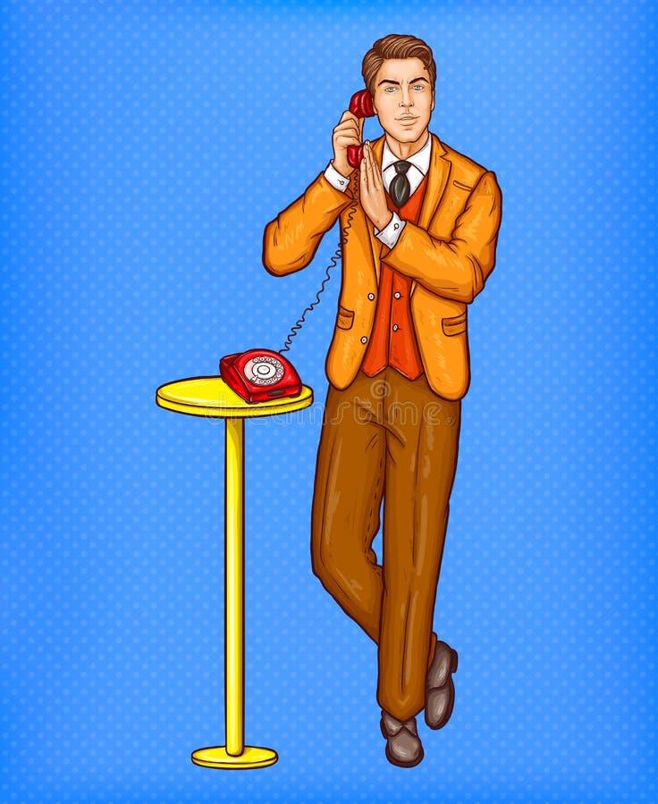 Человек искусства шипучки говоря на ретро телефоне и покрывая микрофон с его рукой бесплатная иллюстрация