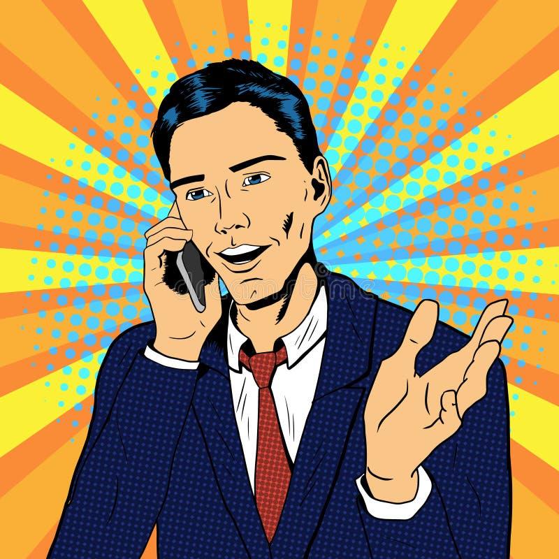 Человек искусства шипучки говоря на телефоне иллюстрация штока