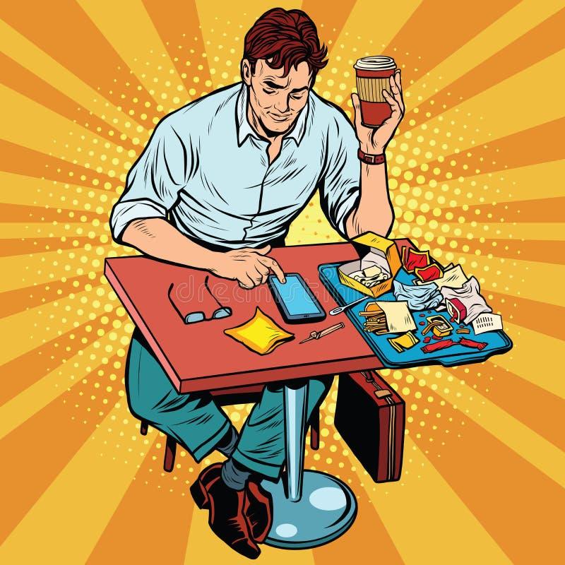 Человек искусства шипучки ест обед на ресторане фаст-фуда иллюстрация вектора
