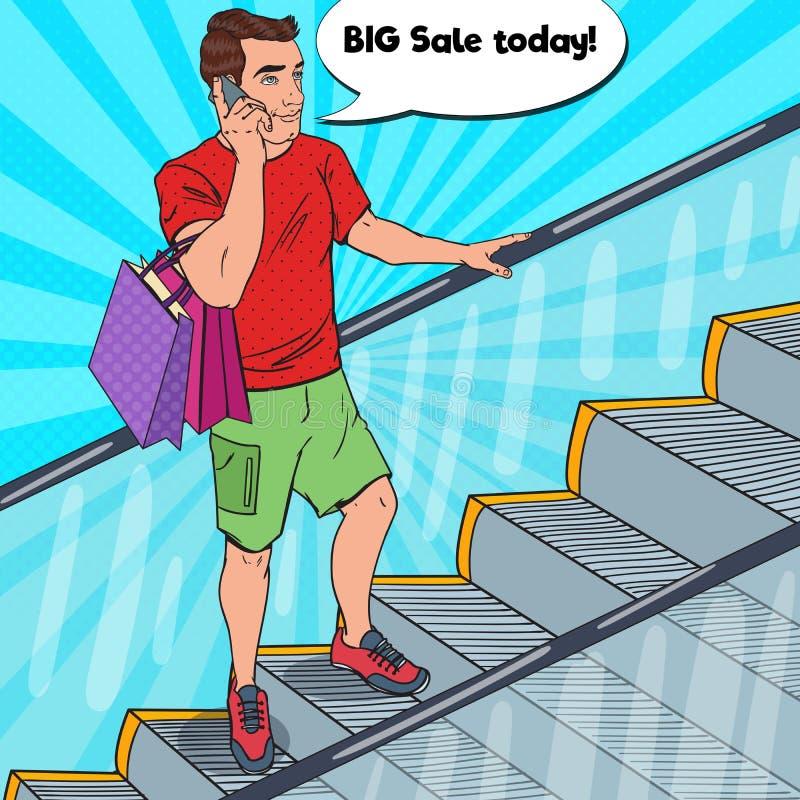 Человек искусства шипучки с хозяйственными сумками говоря на телефоне бесплатная иллюстрация