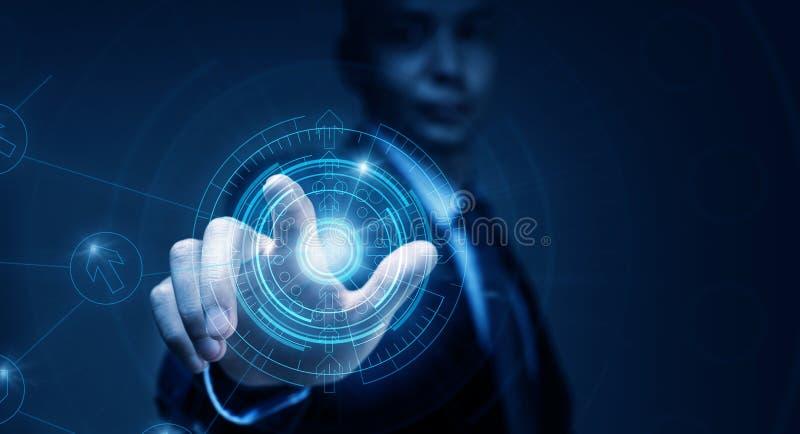 Человек используя современные технологии стоковые изображения rf