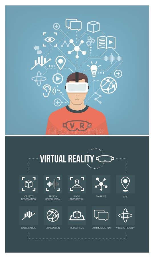 Человек используя шлемофон виртуальной реальности иллюстрация вектора