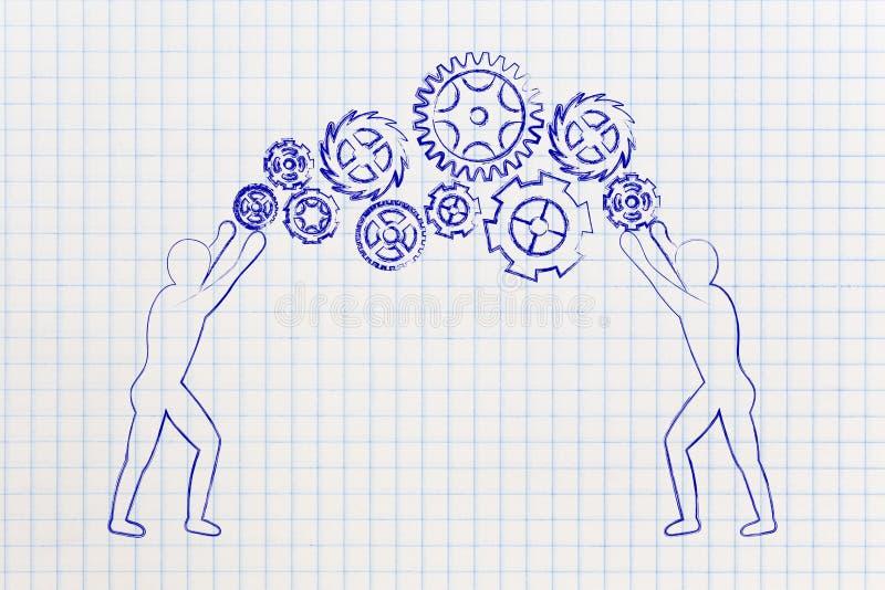 Человек исправляя механизм gearwheel иллюстрация штока