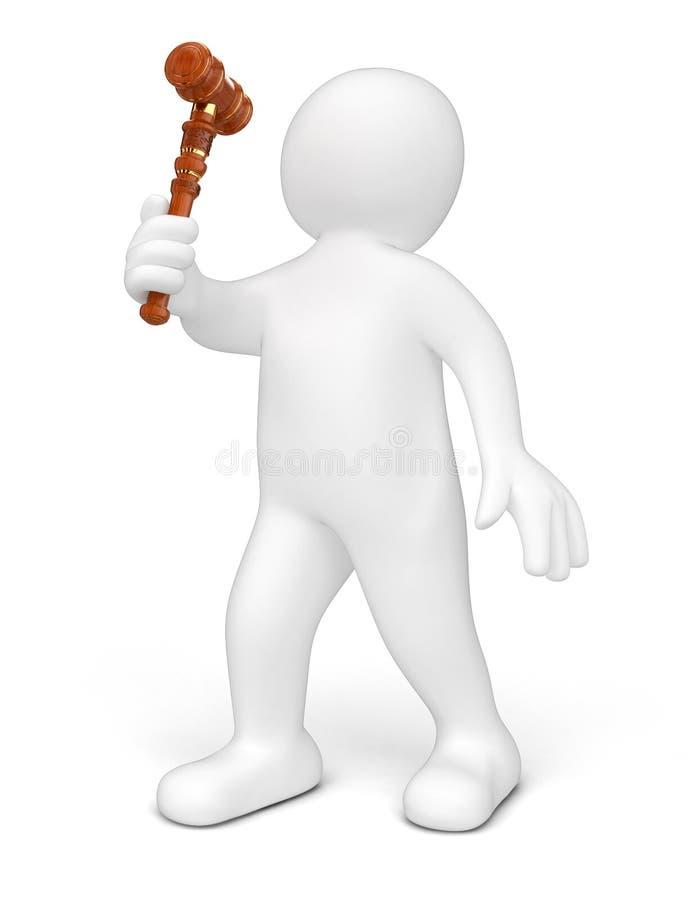 Человек и деревянный мушкел иллюстрация вектора
