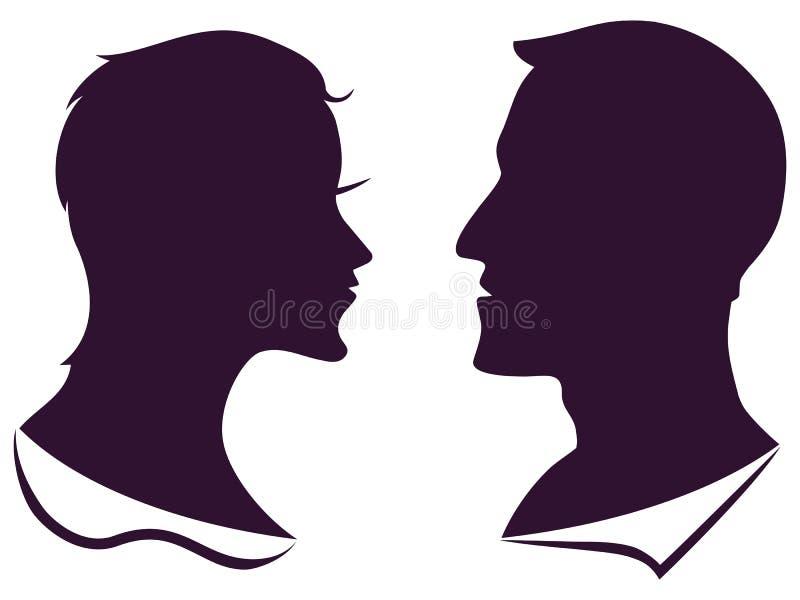 Человек и женский силуэт профиля иллюстрация штока