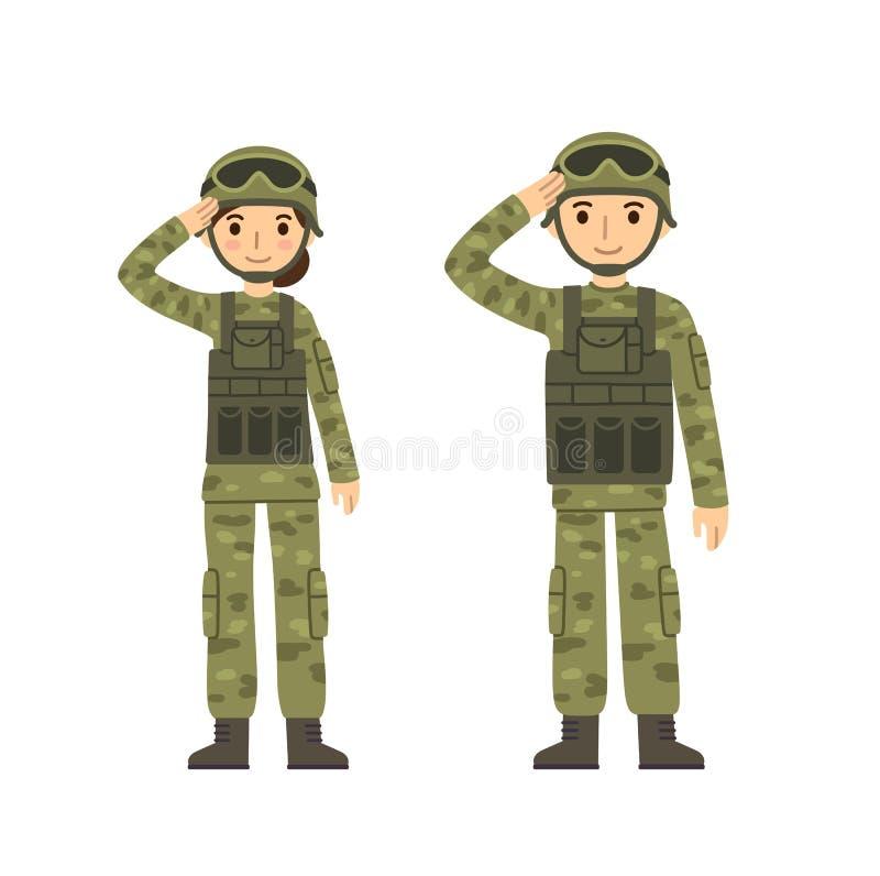 Человек и женщина армии иллюстрация вектора