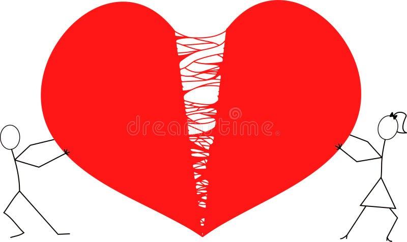 Человек и женщина вставляют диаграммы срывая Харт врозь/красный сломанный Харт иллюстрация штока