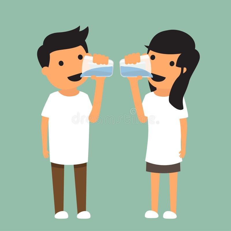 Человек и женщина выпивают достаточную воду в концепции здоровья иллюстрация штока