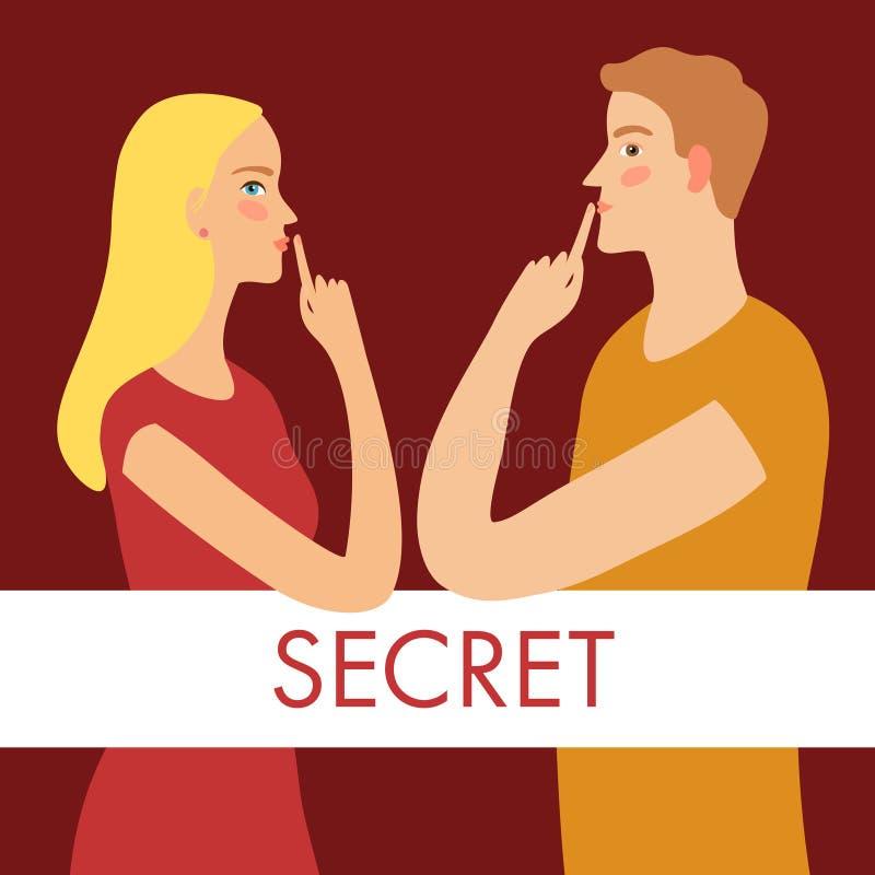 Человек и женщина держа секреты бесплатная иллюстрация