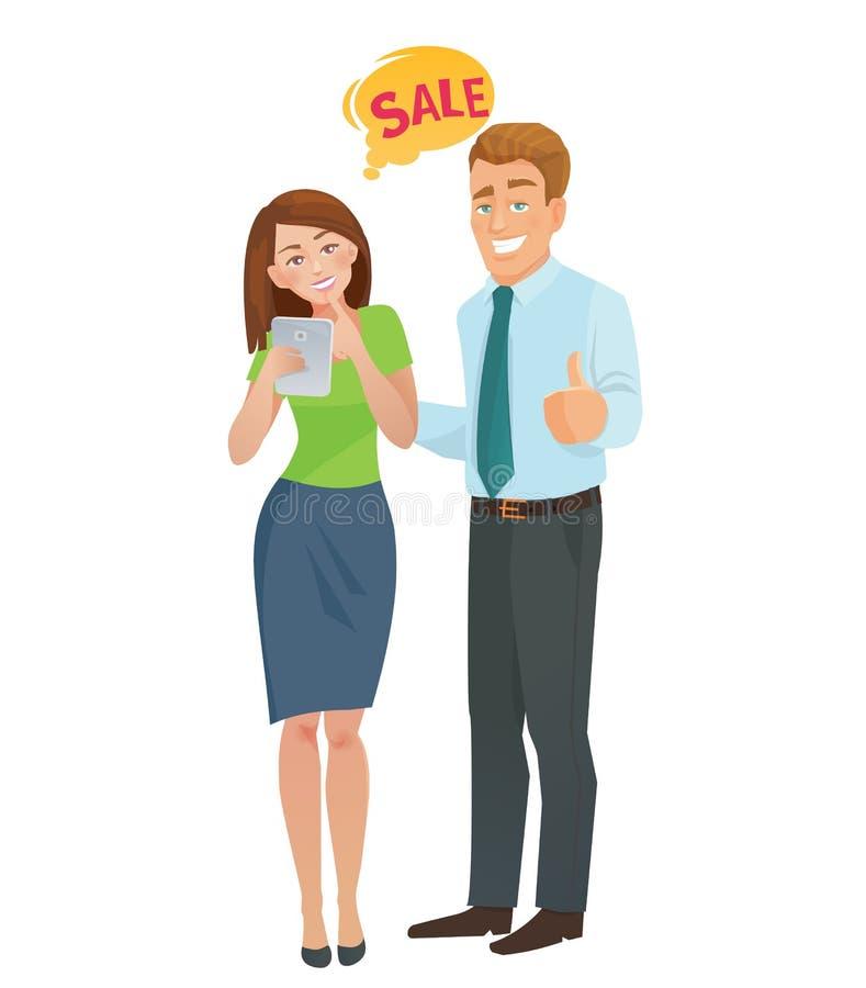 Человек и женщина концепции электронной коммерции продаж бесплатная иллюстрация