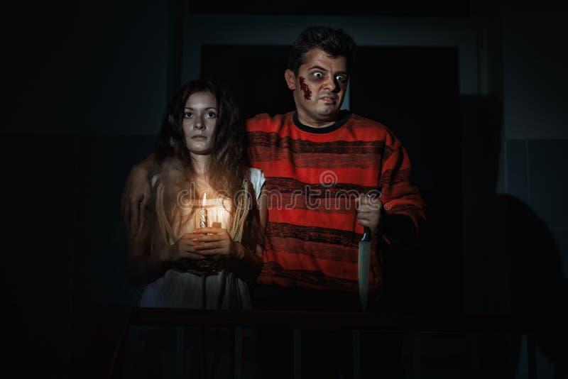 Человек и женщина на хеллоуине стоковые фотографии rf