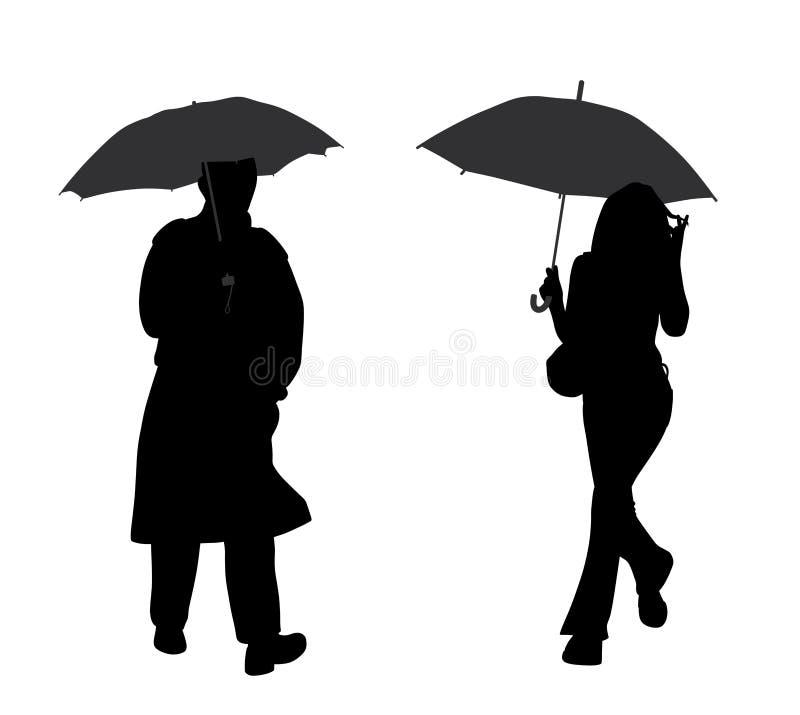 Человек и женщина с зонтиком бесплатная иллюстрация