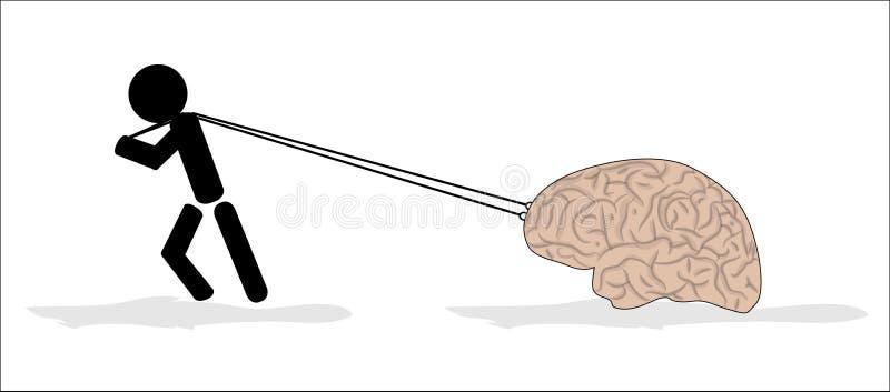 Человек и мозг иллюстрация вектора
