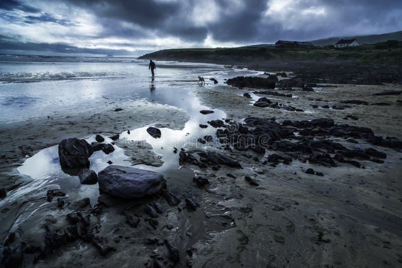 Человек и собака на пляже в причаливая шторме стоковая фотография