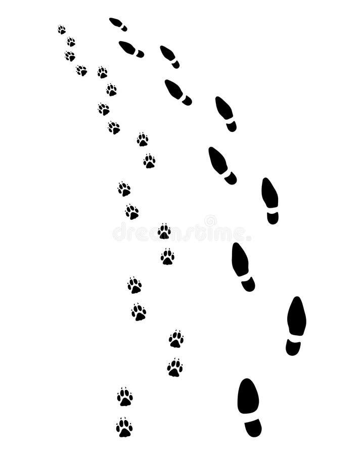 Человек и собака, поворачивают налево бесплатная иллюстрация