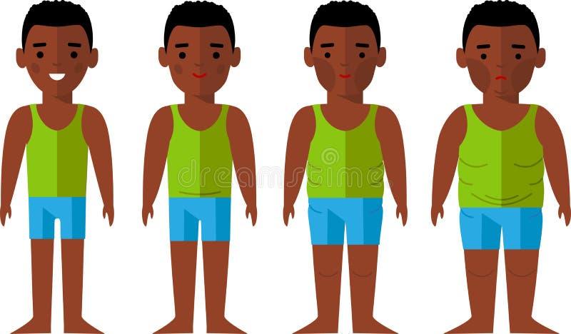 Человек иллюстрации вектора тучный и тонкий Афро-американский диетпитание принципиальной схемы бесплатная иллюстрация