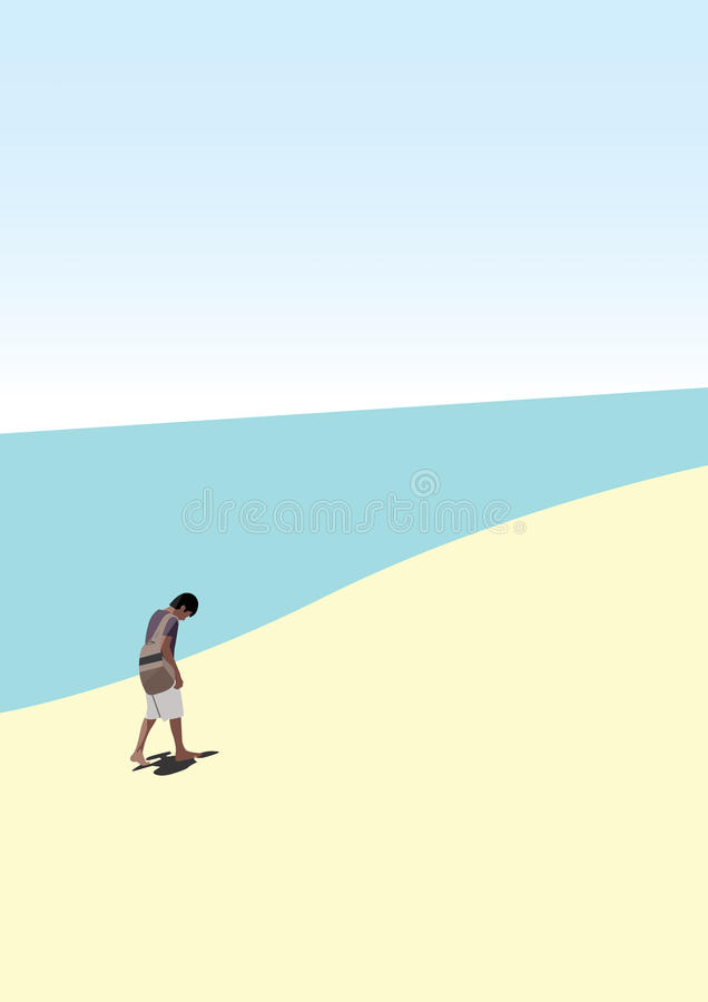 Человек идя самостоятельно на пляж стоковые изображения
