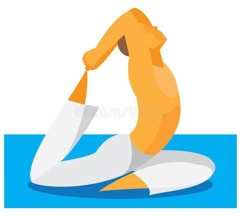 Человек йоги демонстрирует гибкость и протягивать иллюстрация вектора