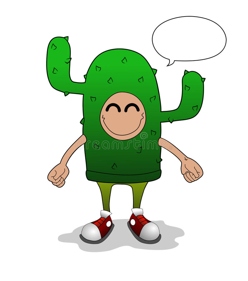 Человек кактуса иллюстрация штока
