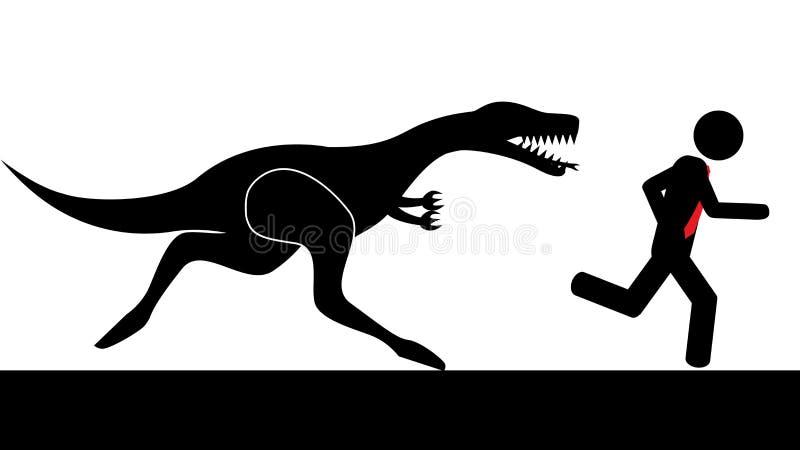 Человек, который побежали от динозавра бесплатная иллюстрация