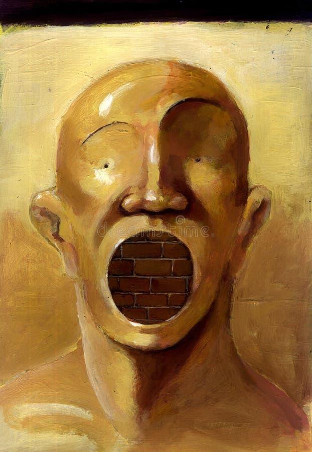 Человек кричащий с стеной иллюстрация вектора