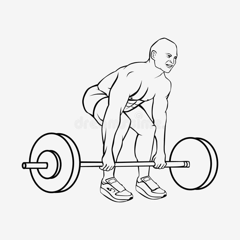 Человек культуриста поднимая тяжелую штангу иллюстрация вектора
