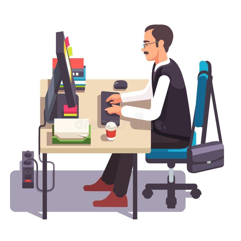 Человек клерка работая на настольном компьютере иллюстрация штока