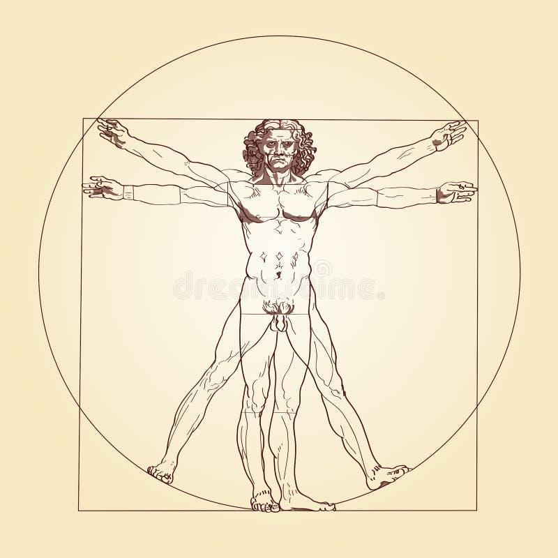 Человек Леонардо Да Винчи Vitruvian иллюстрация вектора