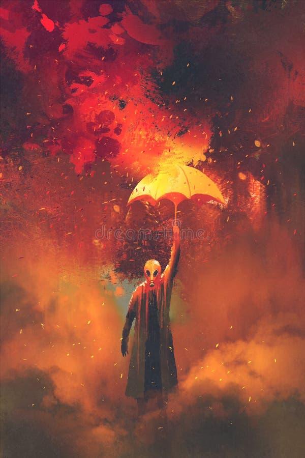 Человек маски противогаза держа горящий зонтик на предпосылке огня иллюстрация вектора