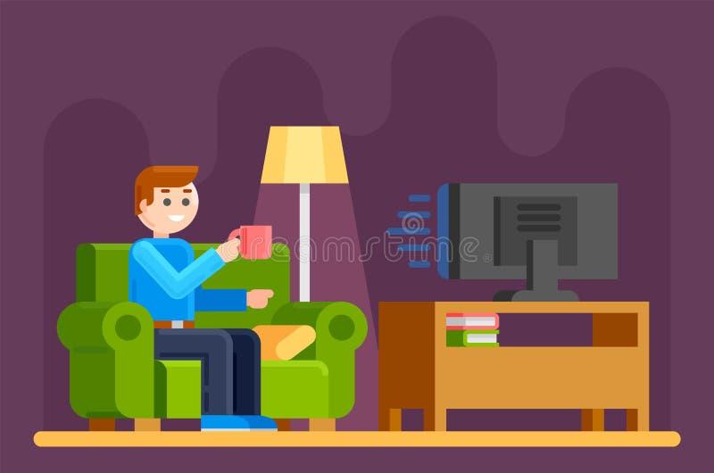 Человек мирит ТВ на софе иллюстрация вектора