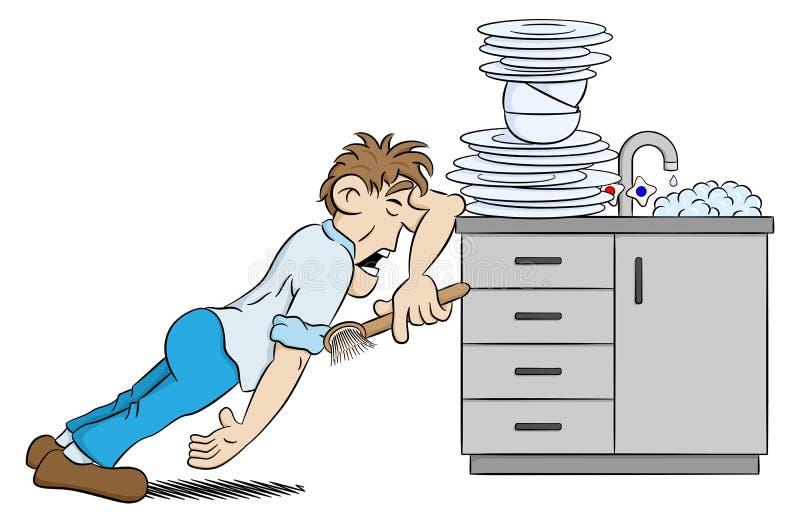 Человек моет блюда в отчаянии иллюстрация вектора