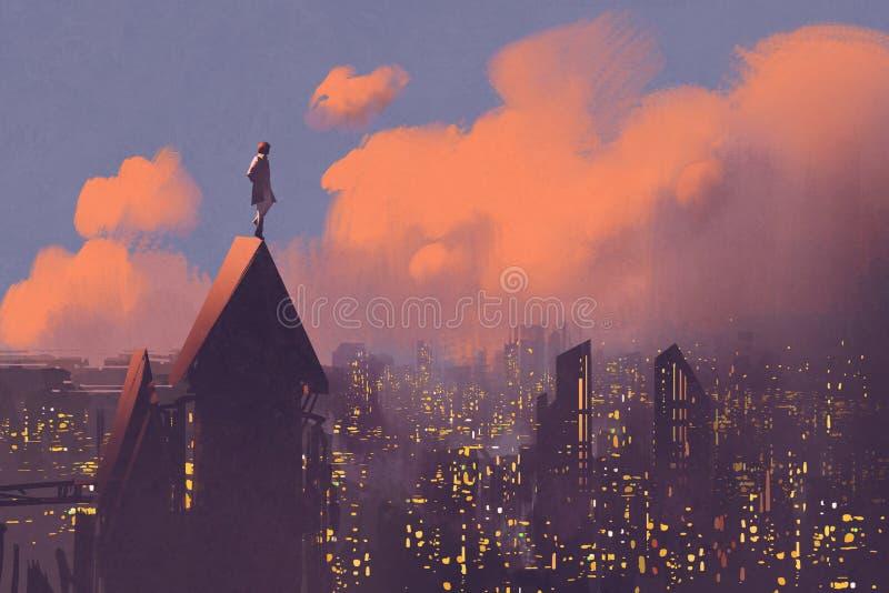 Человек наблюдая над городом иллюстрация вектора