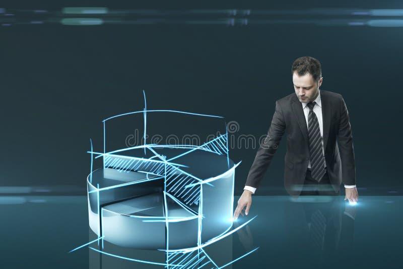 Человек нажимая интерфейс долевой диограммы иллюстрация штока