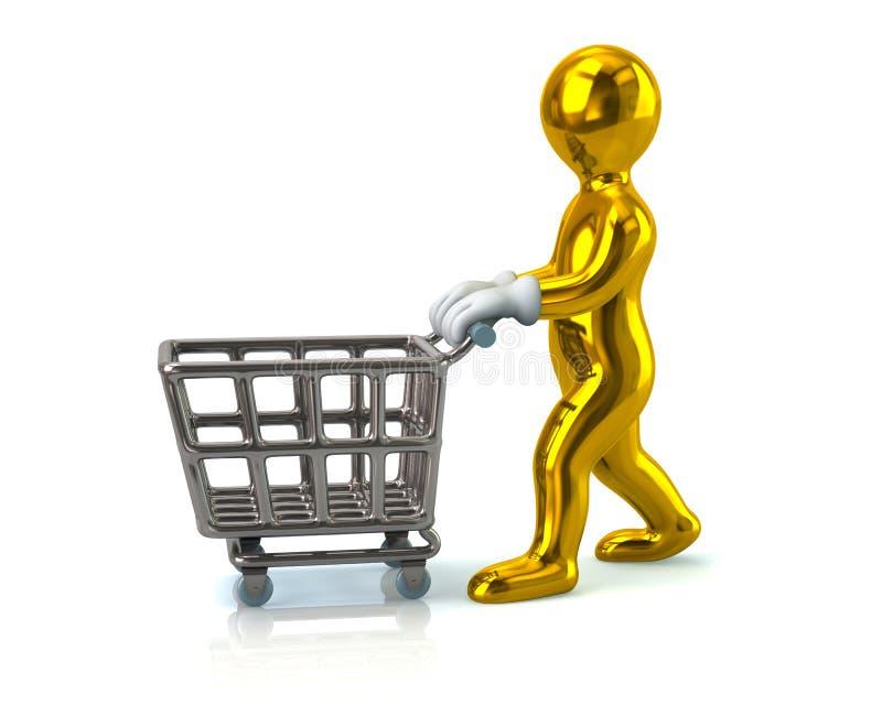 Человек нажимая магазинную тележкау иллюстрация вектора
