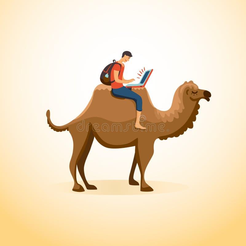 Человек на верблюде иллюстрация вектора