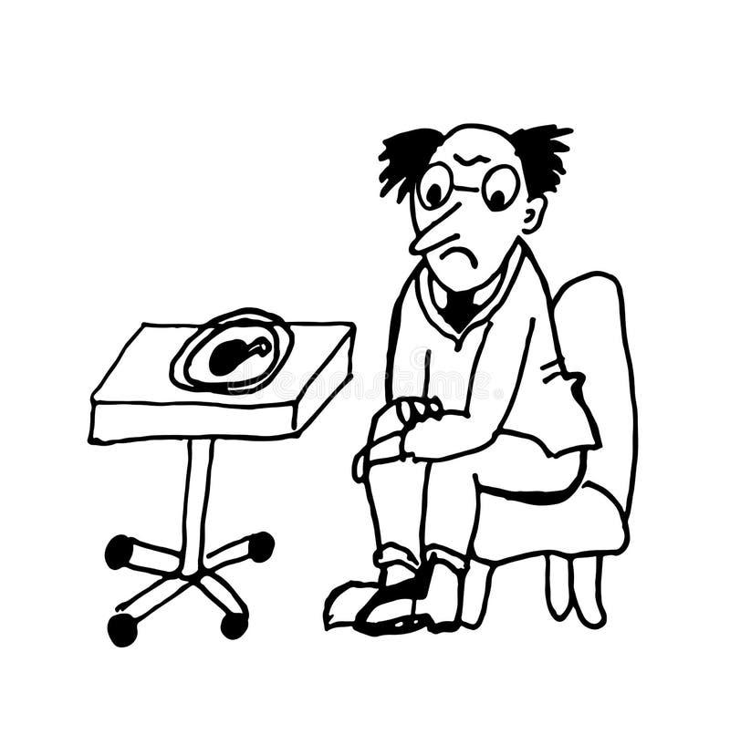 Человек на диете смотря ногу жареной курицы сидя в иллюстрации карикатуры контура стула шуточной иллюстрация вектора