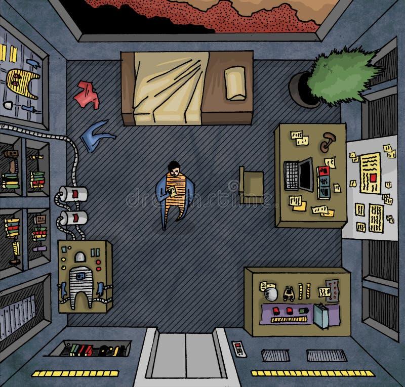 Человек на космическом корабле стоковое изображение