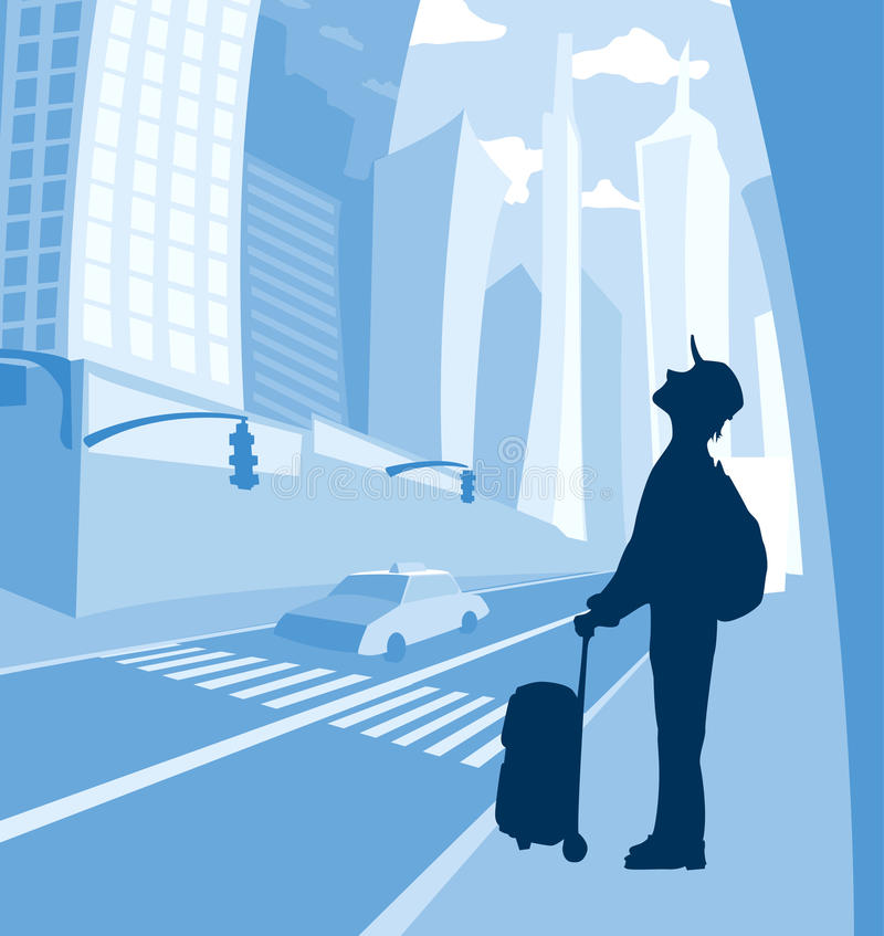 Человек на Нью-Йорке иллюстрация вектора
