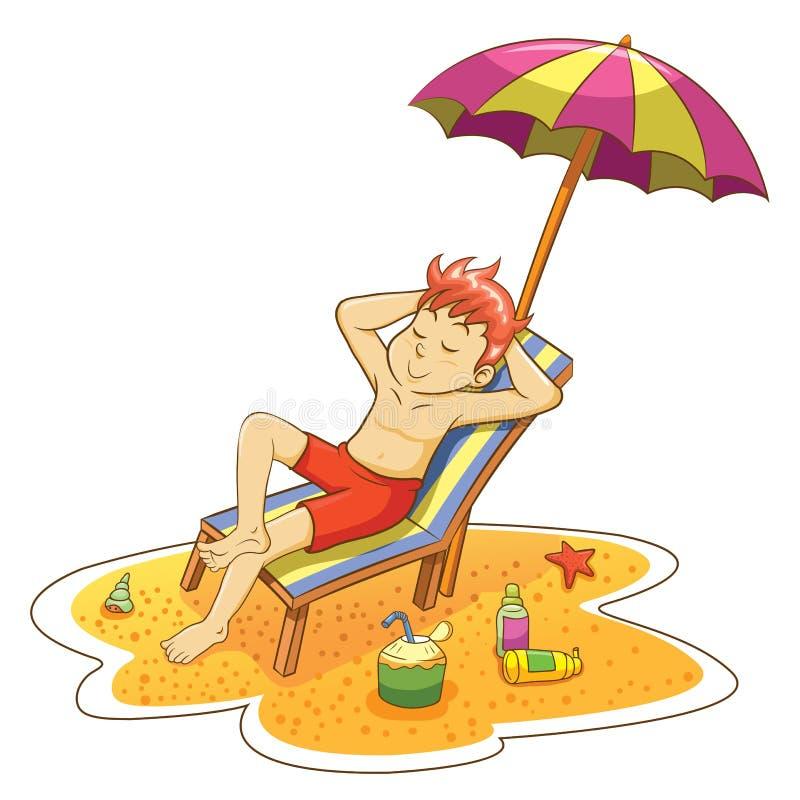 Человек на пляже. бесплатная иллюстрация