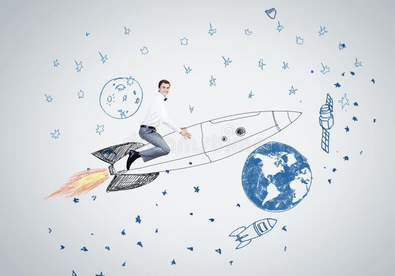 Download Человек на ракете иллюстрация штока. иллюстрации насчитывающей concept - 41650200