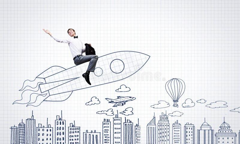 Download Человек на ракете иллюстрация штока. иллюстрации насчитывающей concept - 41651470