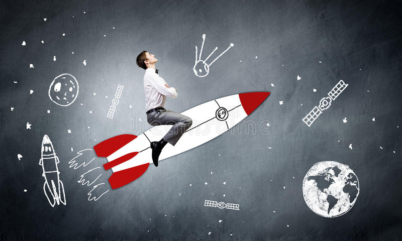 Download Человек на ракете иллюстрация штока. иллюстрации насчитывающей экзекьютив - 41651832