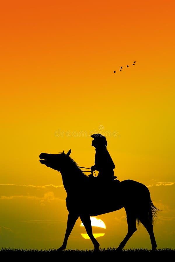 Человек на horseback иллюстрация вектора